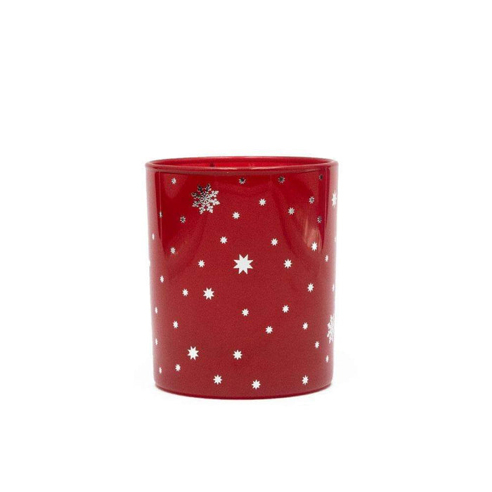 Candle Shack Candle Jar Red Gloss 30cl with Silver Stars
