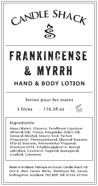 Candle Shack Soap Hand & Body Lotion - Frankincense & Myrrh