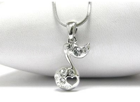 Silver Rhinestone Eighth Note Necklace