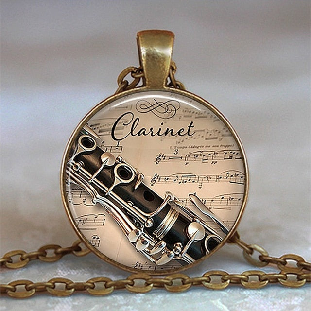 Clarinet Glass Pendant Necklace