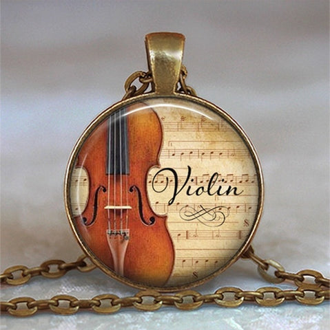 Violin Glass Pendant Necklace