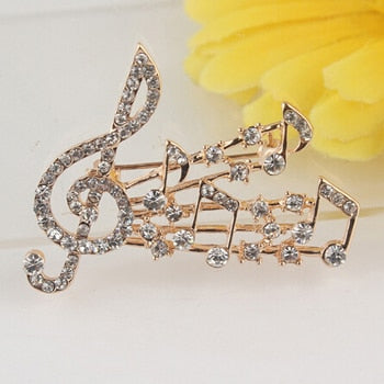 Treble Clef with Stave Brooch