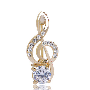 Premium Treble Clef Crystal Brooch