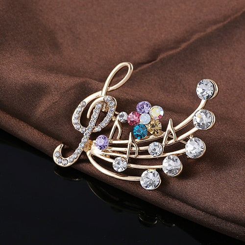 Colourful Rhinestone Music Brooch