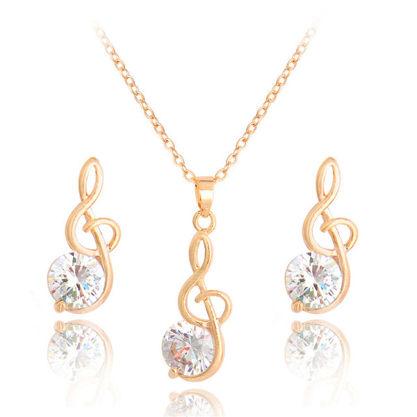 Treble Clef Pendant Necklace and Earring Set
