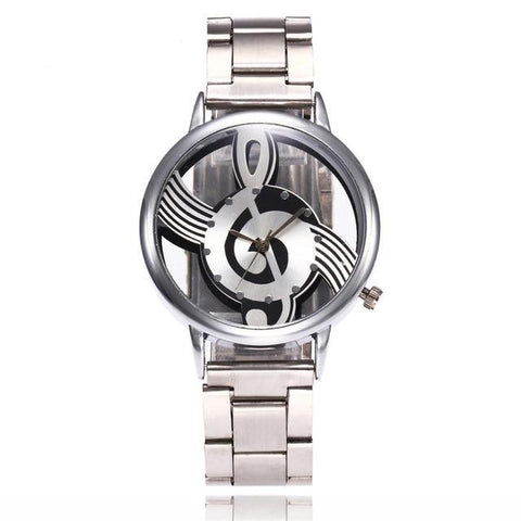 Silver Steel Treble Clef Watch