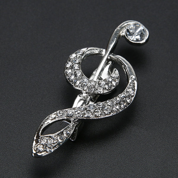 Silver Crystal Treble Brooch