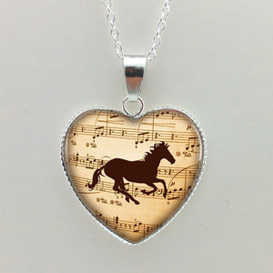 Horse Silhouette Music Necklace