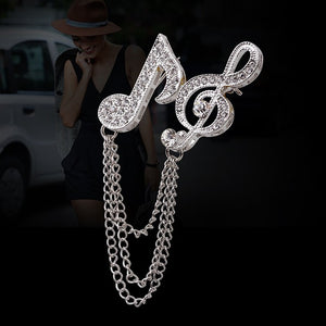 Treble Clef and Eighth Note Linked Brooch