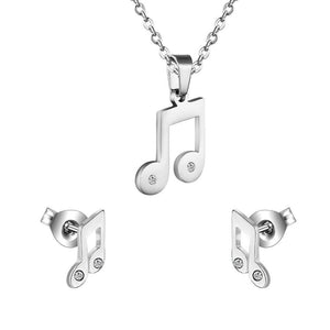 Silver Eighth Note Necklace and Earring Set