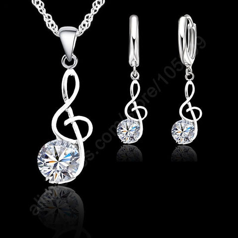 Silver Treble Clef Pendant and Earring Set