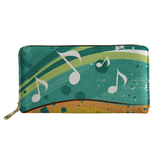 Women's Green Gradient Musical Note Purse