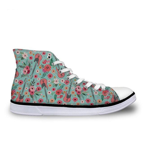 Women's Guitar Flower Canvas High Top