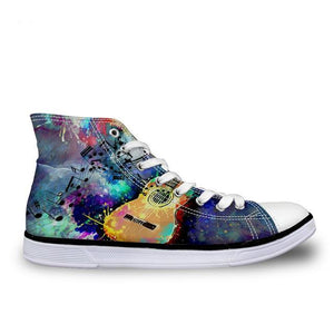 Women's Paint Guitar Canvas High Top