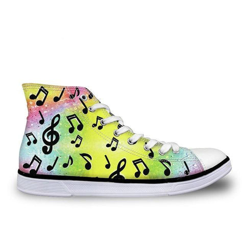 Women's Abstract Music Canvas High Top
