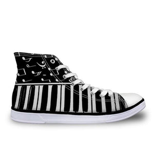 Women's Piano BW Canvas High Top