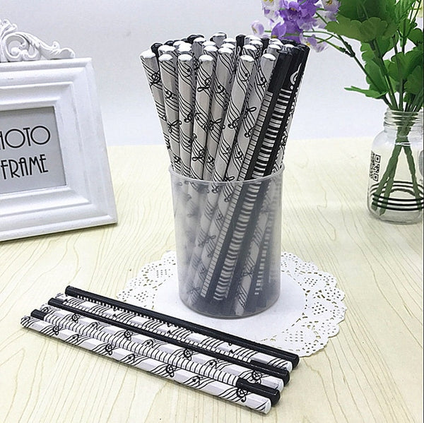 12 Piece Musical Pencil Pack (Black White)
