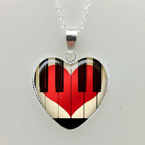 Piano Heart Necklace