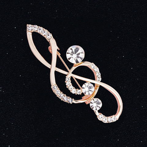 Rose Gold Rhinestone Treble Brooch