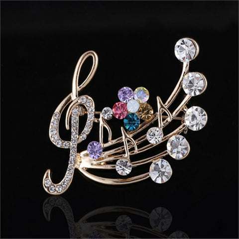 Musical Brooch with Rhinestone Crystals