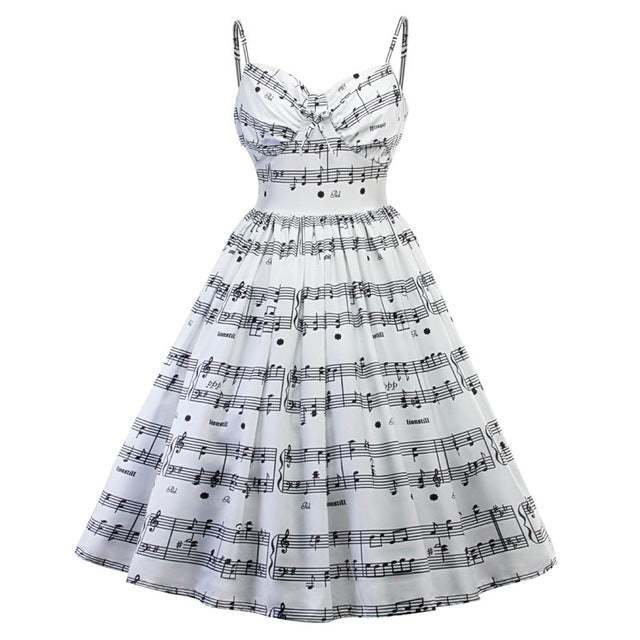 Vintage V-Neck Music Dress