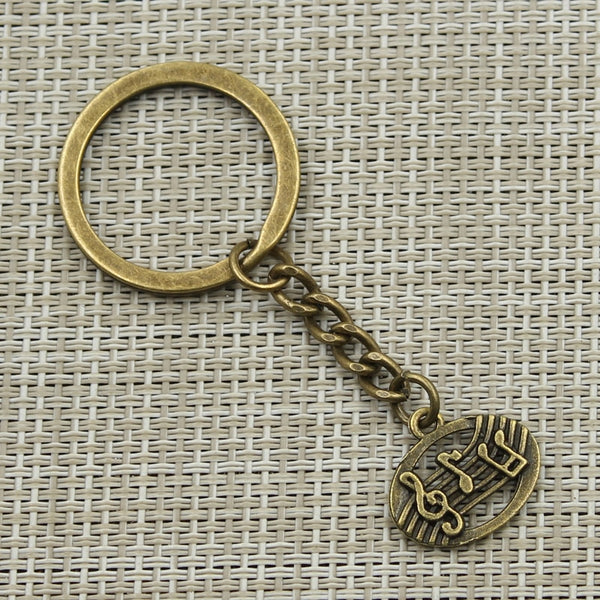 Antique Music Note Keychain
