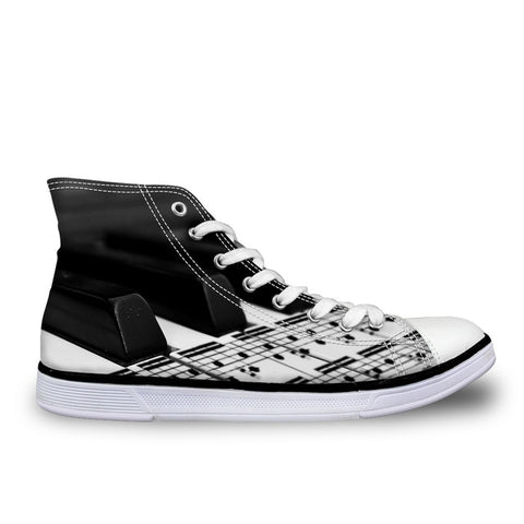 Women's Musical Score Canvas High Tops