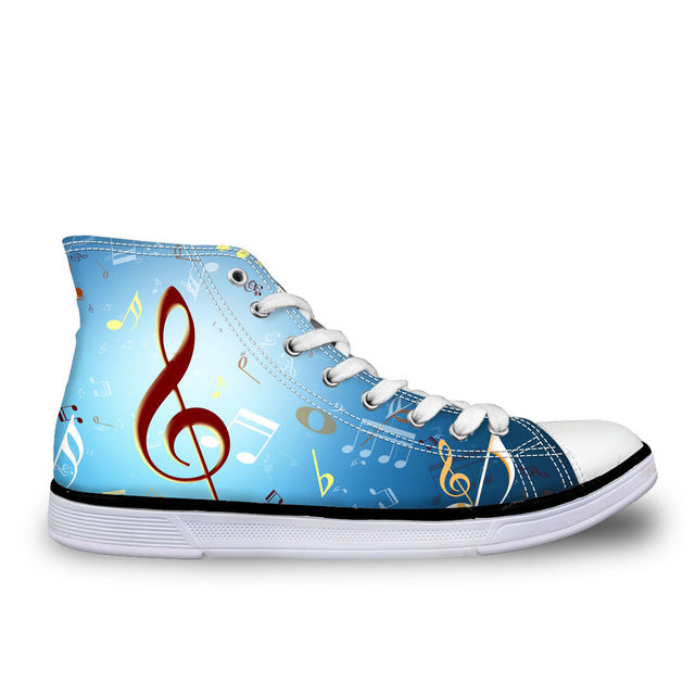 Musical Note Women's Blue Sneakers