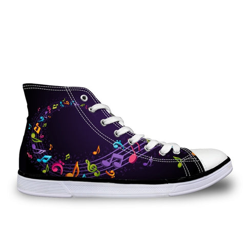Musical Note Women's Black Sneakers