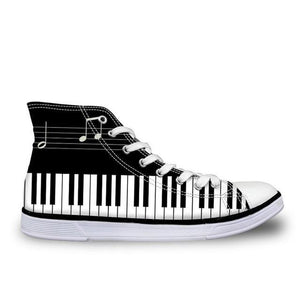 Women's Piano Keys Canvas High Top