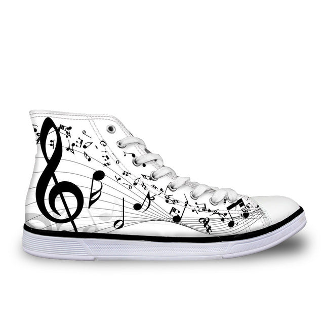 Women's Music Note White Canvas High Top