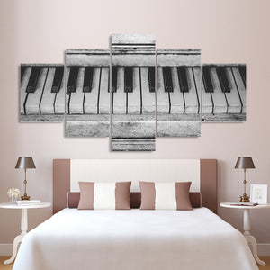 Rustic BW Piano Keys Canvas Art