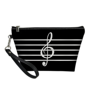 Black Treble Clef Music Cosmetic Bag