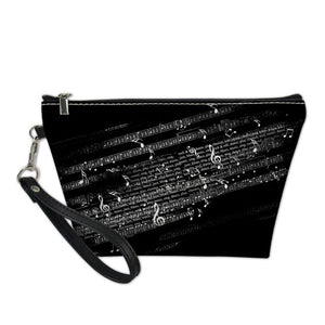Black Music Note Cosmetic Bag
