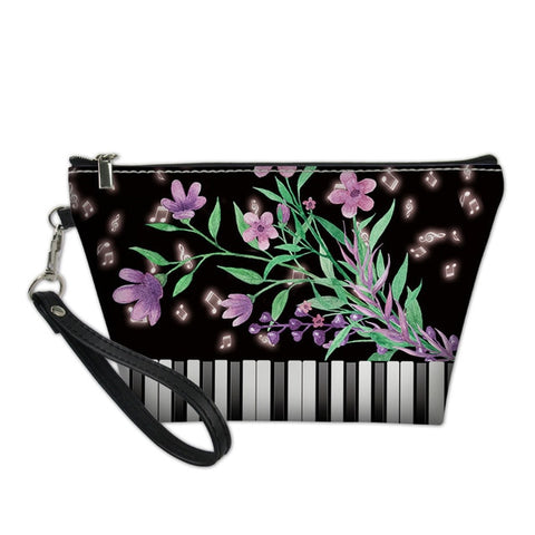 Purple Floral PianoCosmetic Bag