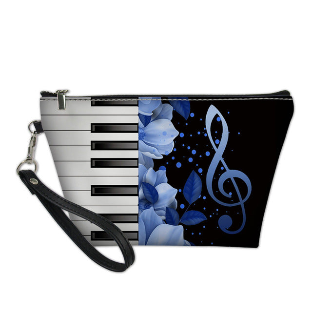 Blue Floral Piano Cosmetic Bag