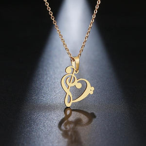 Treble Bass Heart Necklace