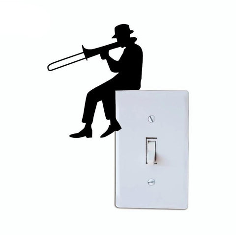 Trombone Silhouette Light Switch Sticker