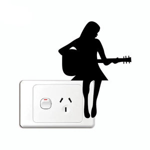 Girl Playing Guitar Silhouette Light Switch Sticker