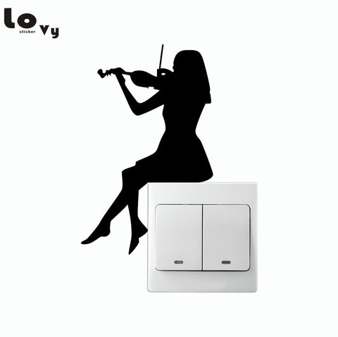 Girl Playing Violin Silhouette Switch Sticker