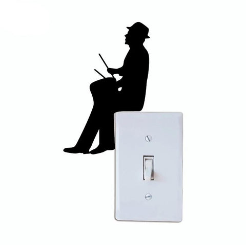 Drum Silhouette Light Switch Sticker