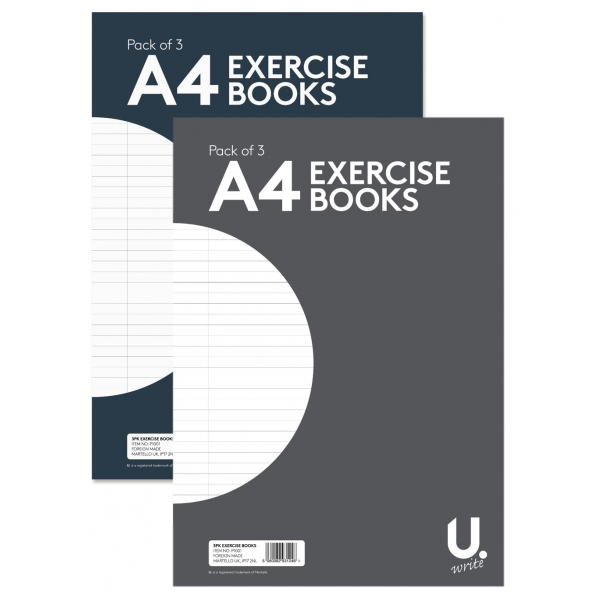 U.Write A4 Lined Exercise Book (3pk)
