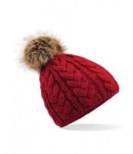 Beechfield Fur Pop Pom Cable Beanie