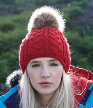 Load image into Gallery viewer, Beechfield Fur Pop Pom Cable Beanie