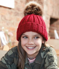 Load image into Gallery viewer, Beechfield Junior Faux Fur Pom Pom Chunky Beanie