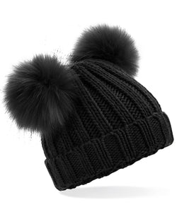Black Beechfield Junior Faux Fur Double Pom Pom Beanie