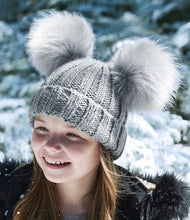 Load image into Gallery viewer, Grey Beechfield Junior Faux Fur Double Pom Pom Beanie
