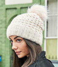 Load image into Gallery viewer, Beechfield Popcorn Fur Pop Pom Beanie