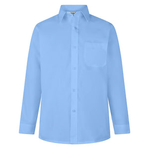 Boys Blue Easy Care Long Sleeve Shirts (Twin Pack)