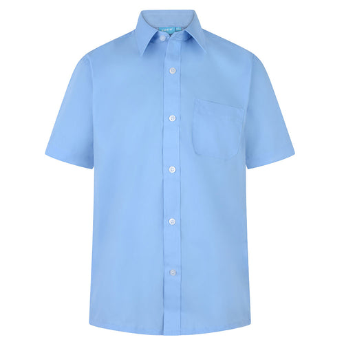 Boys Blue Easy Care Short Sleeve Shirts (Twin Pack)